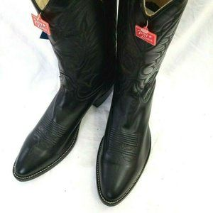 Tony Lama Men's Black Leather Western Cowboy Boots